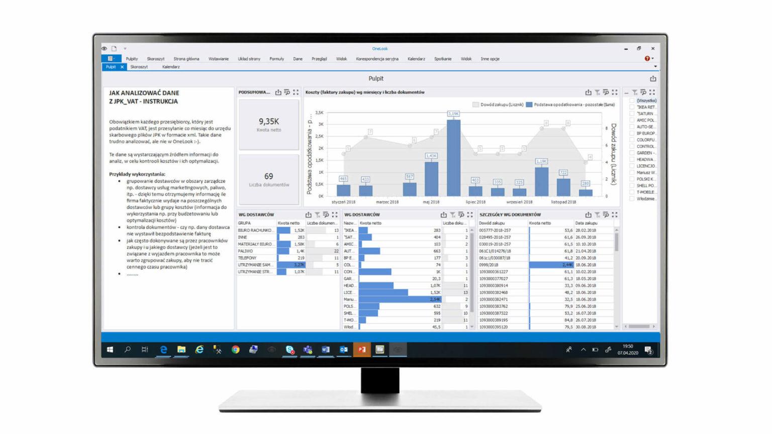 Analiza kontrahentów JPK_VAT Brak większej ilości danych nie musi być przeszkodą w przeprowadzeniu analiz. Wystarczą podstawowe pliki JPK_VAT (co  miesiąc obowiązkowo wysyłane do urzędu skarbowego), aby na jednym ekranie zobaczyć uporządkowane dane dotyczące  m.in. dokonanych transakcji zakupu i sprzedaży czy liczby wystawianych dokumentów. Czytelna analiza pozwala zobaczyć  więcej i lepiej zarządzać np. wydatkami.