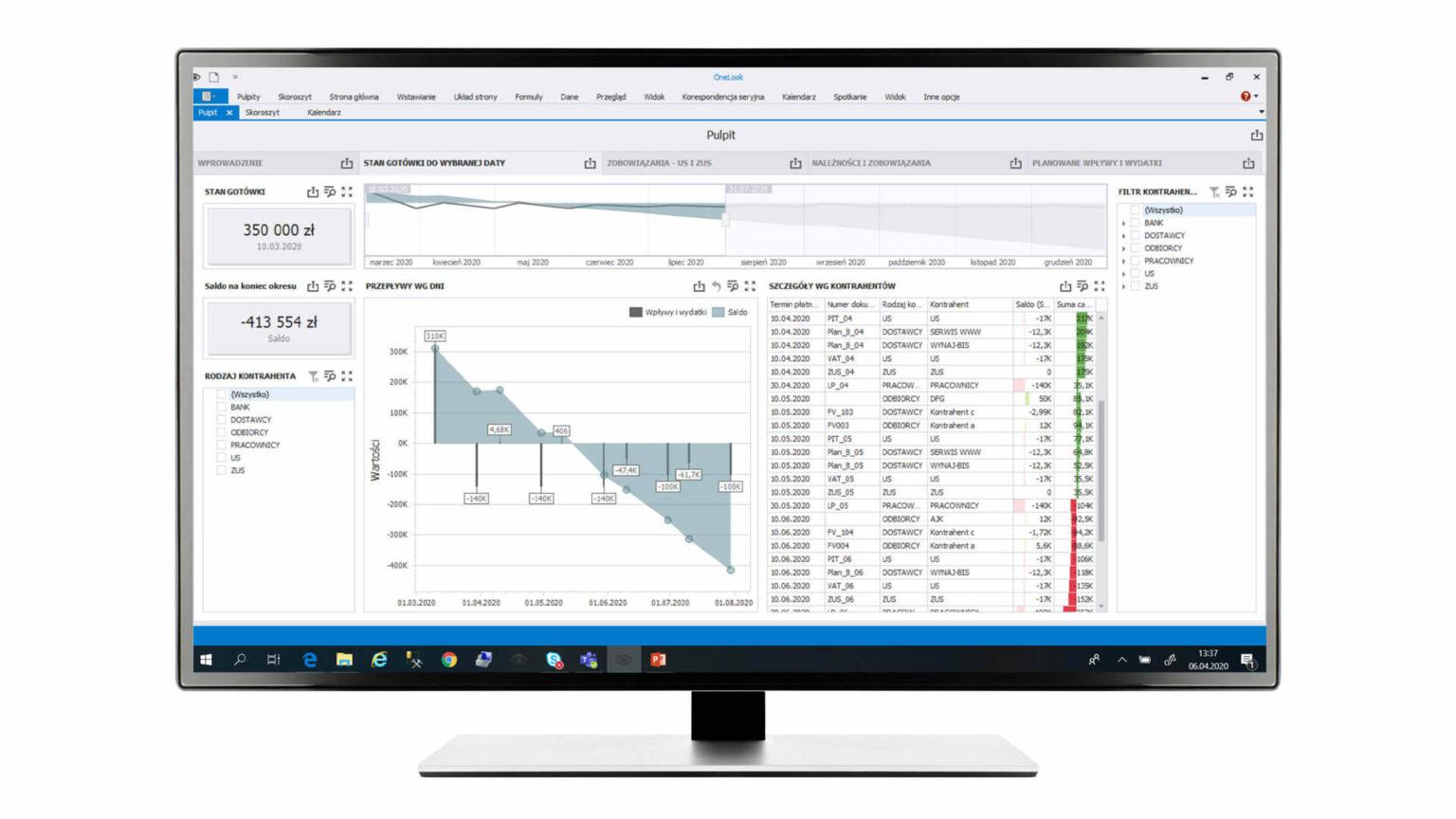 Analiza cash flow  Zaawansowany pulpit łączy dane z kilku źródeł. Znajdują się tutaj informacje o aktualnym                     stanie gotówki, zobowiązaniach ZUS,  VAT, PIT, wynagrodzeniach, płatnościach dla                     kontrahentów czy planowanych wpływach i wydatkach.